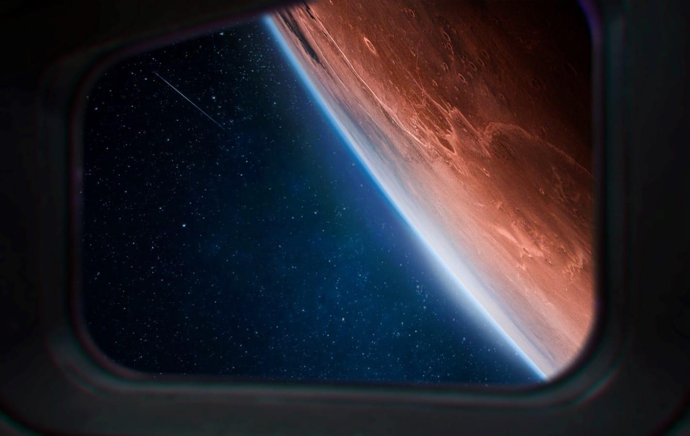 Mars through spaceship window