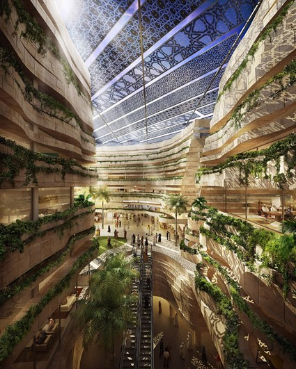 Mars colony in artificial domed canyon - design for Masdar City (UAE) by LAVA